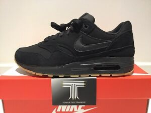 """Details about Nike Air Max 1 (GS) ~ """"Triple Black"""" ~ 807602 008 ~ Youth Size Uk 5 ~ Euro 38"""