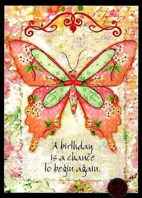 Birthday Butterfly Flowers  Watercolor SUSAN WINGET Birthday Greeting Card