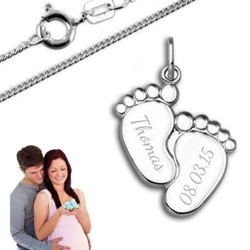 Taufkette,Kinderkette Sterling Silber 925 Inkl Anhänger Babyfüße Gravur