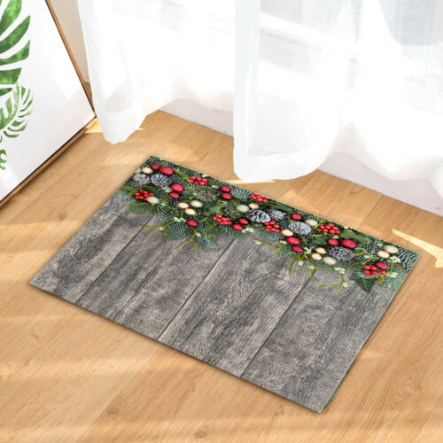 Christmas Holly on Wooden  Shower Curtain Set Bathroom Waterproof Polyester 71/""