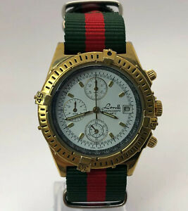 Lorelli Mens JW9126891 Gold Date Indicator Quartz Analog Wristwatch Nylon Strap