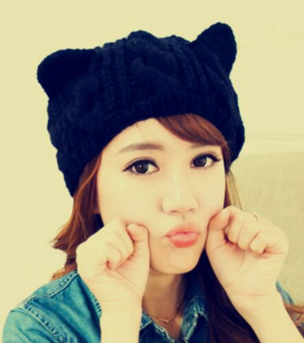 Women Lady Girls Fashion Black Cat Kitty Ear Horn Knit Warm Winter ski Hat Cap