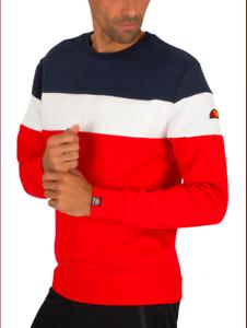 Ellesse-sudadera-para-hombre-de-logotipo-en-relieve-Azul-Rojo-Blanco-XL-Cuello-Redondo-RRP-65
