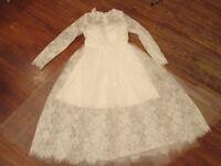 Vtg Inspired 50s Sheer Lace Short Wedding Dress-illusion Hem $285-sz 4/6