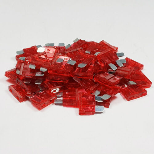 50 x 10 Amp Red Standard Blade Fuses Amps 10A Fuse Car Van Auto Marine ATO