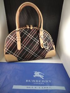 bfff572dac1 Image is loading Authentic-BURBERRY-BLUE-LABEL-Canvas-Leather-Handbag-Boston -