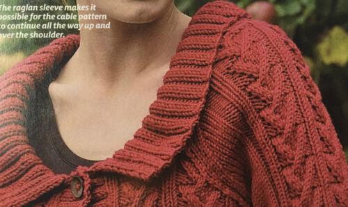Tejer patrón Damas Cable con cuello Cardigan botón de Debbie Bliss Aran