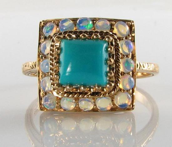 DIVINE 9CT 9K gold RARE PERSIAN TURQUOISE OPAL ART DECO INS RING FREE SIZE