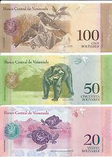 Venezuela - 2 + 5 + 10 + 20 + 50 + 100 Bolivares 2007-2015 UNC Satz 6 Banknoten
