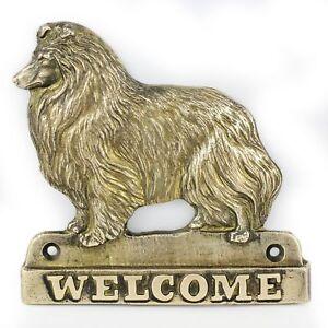 Berger Des Shetland- Plaque De Laiton Avec Un Chien 'welcome' Art Dog Fr