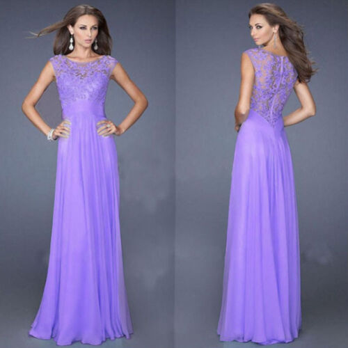 New Long Chiffon Lace Evening Formal Party Ball Gown Prom Bridesmaid Dress