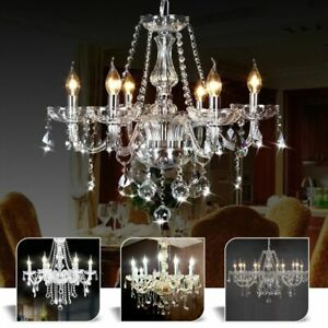 Clear-Crystal-Light-Chandelier-Ceiling-Pendant-Lights-Droplets-Living-Room-Lamp