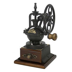 Evelyne-Wood-Vintage-Antique-Coffee-Bean-Grinder-Mill-Windmill-Hand-Crank-Manual