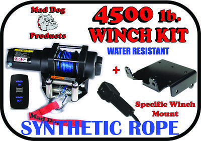 2500lb Mad Dog Synthetic Winch//Mount for 2010-2014 Polaris RZR 800 800 4