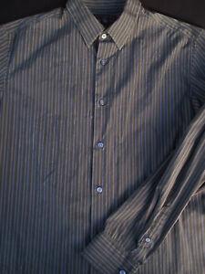 Banana Republic Homme boutonné devant en coton à manches longues gris à rayures Chemise Large L