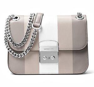 2b000de1f66566 Michael Kors Bag Handbag Sloan Editor Md Chain Stripe Grey White New ...