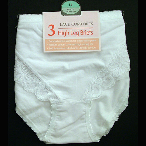 3 Pack Ladies High Leg Briefs Knickers Lace Comfort Cotton by La Marquise 1007