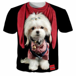3f1220cfbf1a Details about Womens/Mens Funny Dog Cute Animal 3D Print Casual T-Shirt  Short Sleeve Tops Tee