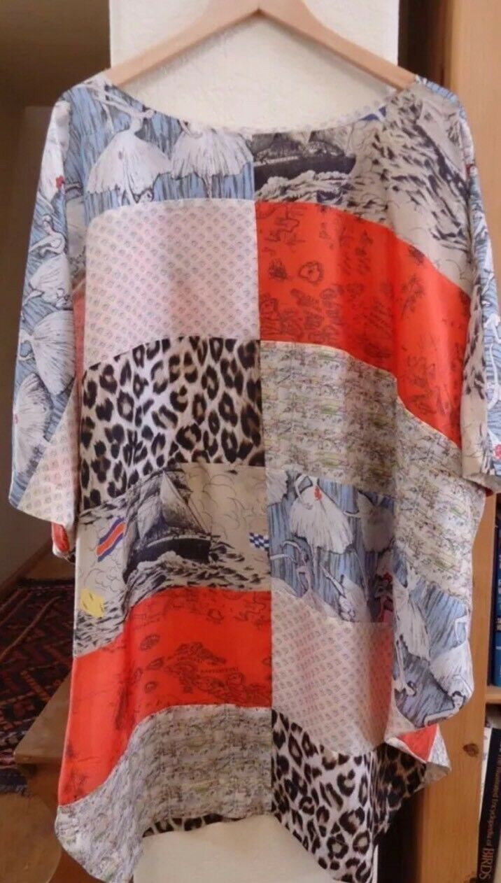 ANTHROPOLOGIE Silk Patchwork Dress Tunic LPO Laurence Maheo Sz XS S  NWOT