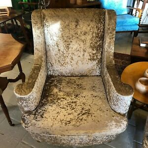 Stunning-Vintage-Laura-Ashley-Armchair-Recovered-in-Latte-Silver-Crushed-Velvet