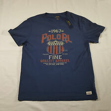 Polo Ralph Lauren Navy Graphic T shirt LARGE Spell Out Star Stripe Badge NWT