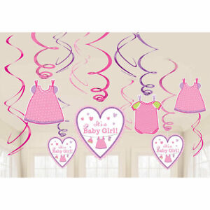 12-Piece-It-039-s-a-Girl-Baby-Shower-Decorations-Pink-Swirls-for-Baby-Girl-T001