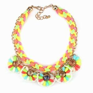 Neon-Bib-Rope-Gold-Chain-Crystal-Colorful-Flower-Chunky-Statement-Women-Necklace