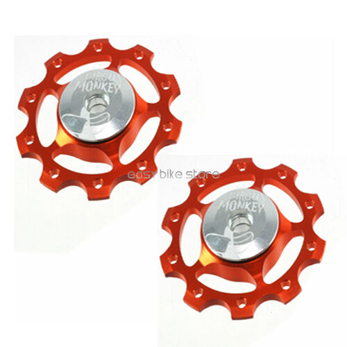 ORANGE 2PC Circus Monkey Wheel for Rear Derailleur Pulley 10T ROAD MTB BIKE