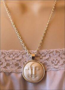 Hand-Carved-Sun-amp-Moon-Face-Natural-Buffalo-Bone-Cabochon-Pendant-Silver-Plate