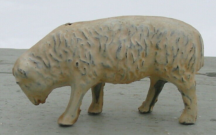 Antique Old Vintage Lead Metal Painted Sheep Lamb Animal Primitive Figure Old