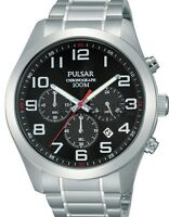 Pulsar Gents Classic Stainless Steel Chronograph Watch Black Dial Pt3 661