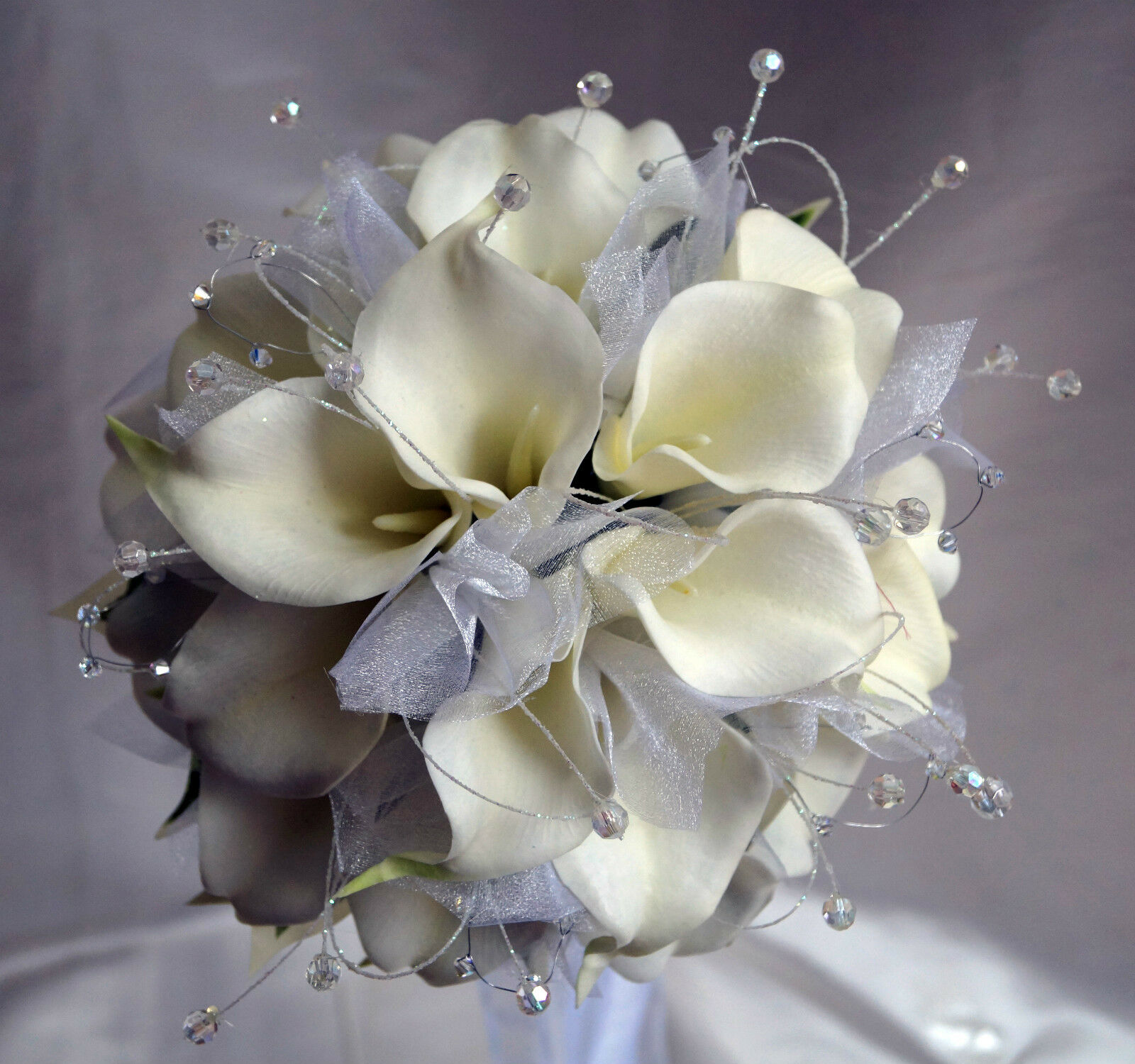 Brides Wedding Bouquet FlowersWeiß  Real Touch Calla lillies, Tulle & Crystals