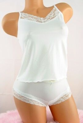 Amiable Soft Smooth Stretch Nylon White Lacy Camisole Top & Panties Set Sz S/m L/xl Beneficial To The Sperm Camisoles & Camisole Sets Women's Clothing
