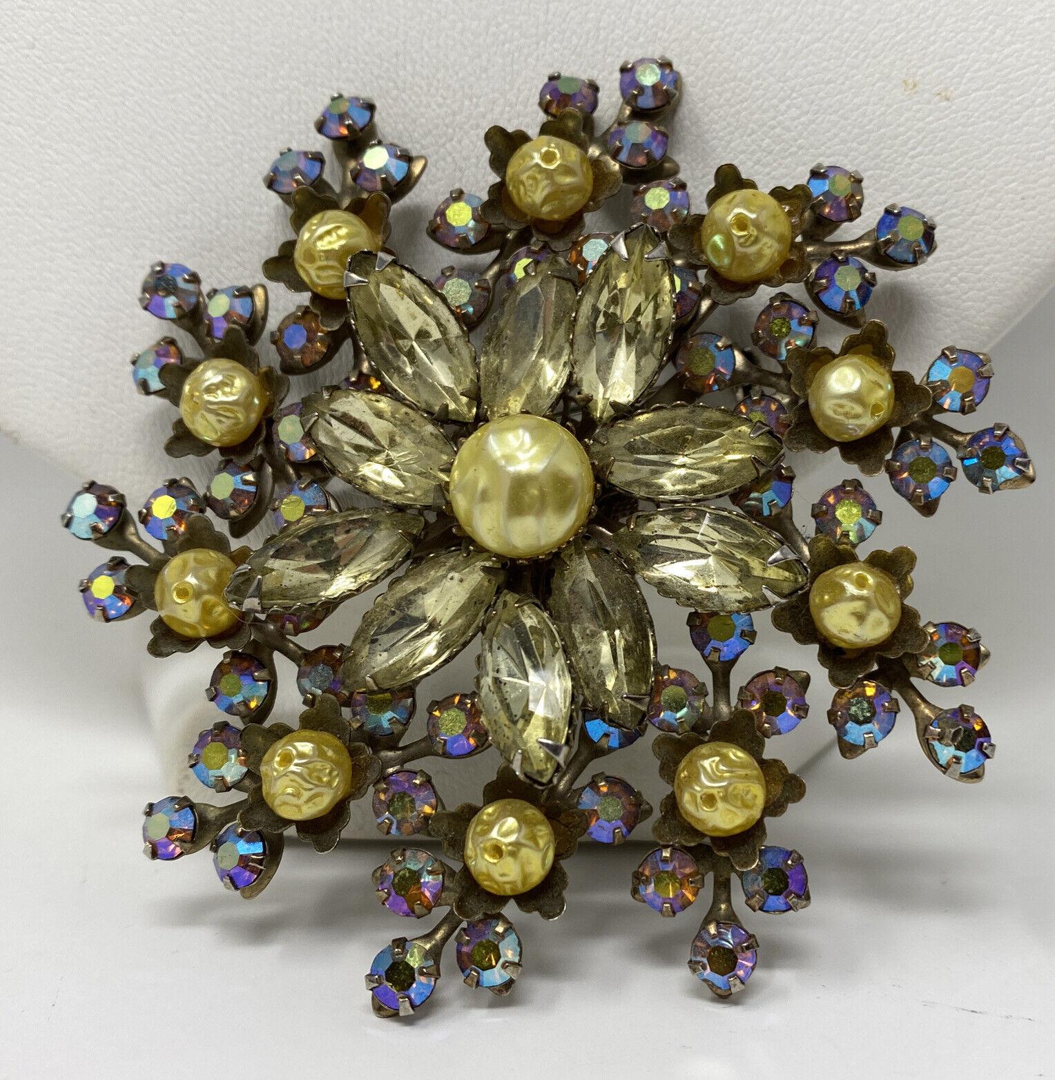 Sparkly Vintage Aurora Borealis AB Crystal Citrin… - image 4