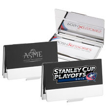 Free Custom Personalized Laser Engraved Black Metal Leather Business Card Holder