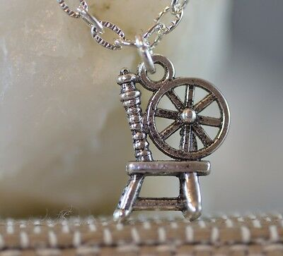 NS020 Spinning Wheel Necklace, Wool, Once Upon A Time, Gold, Cute Gift