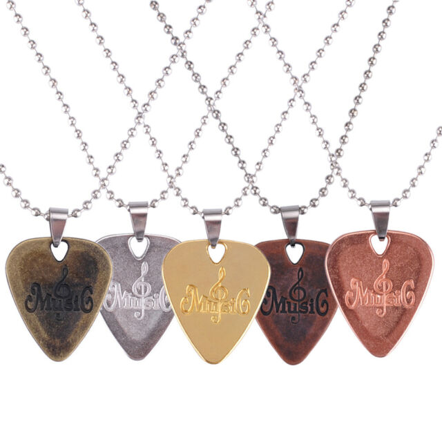 PERSONALISED ENGRAVED GUITAR PICK PLECTRUM NECKLACE//CHAIN SILVER PLATED
