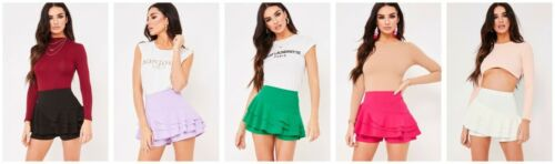 New Womens Celebrity Layered Ruffled Frill Skorts High Waisted Mini Skirt Shorts