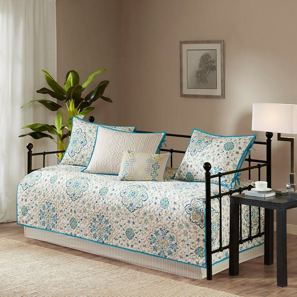 TEAL blueeE MEDALLION 6pc DAYBED COVERLET SET   IVORY BOHO EXOTIC FLORAL DECO