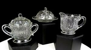 EAPG-FEDERAL-GLASS-WABASH-HONEYCOMB-2-3-4-034-CREAMER-SUGAR-BOWL-amp-BUTTER-DISH1914