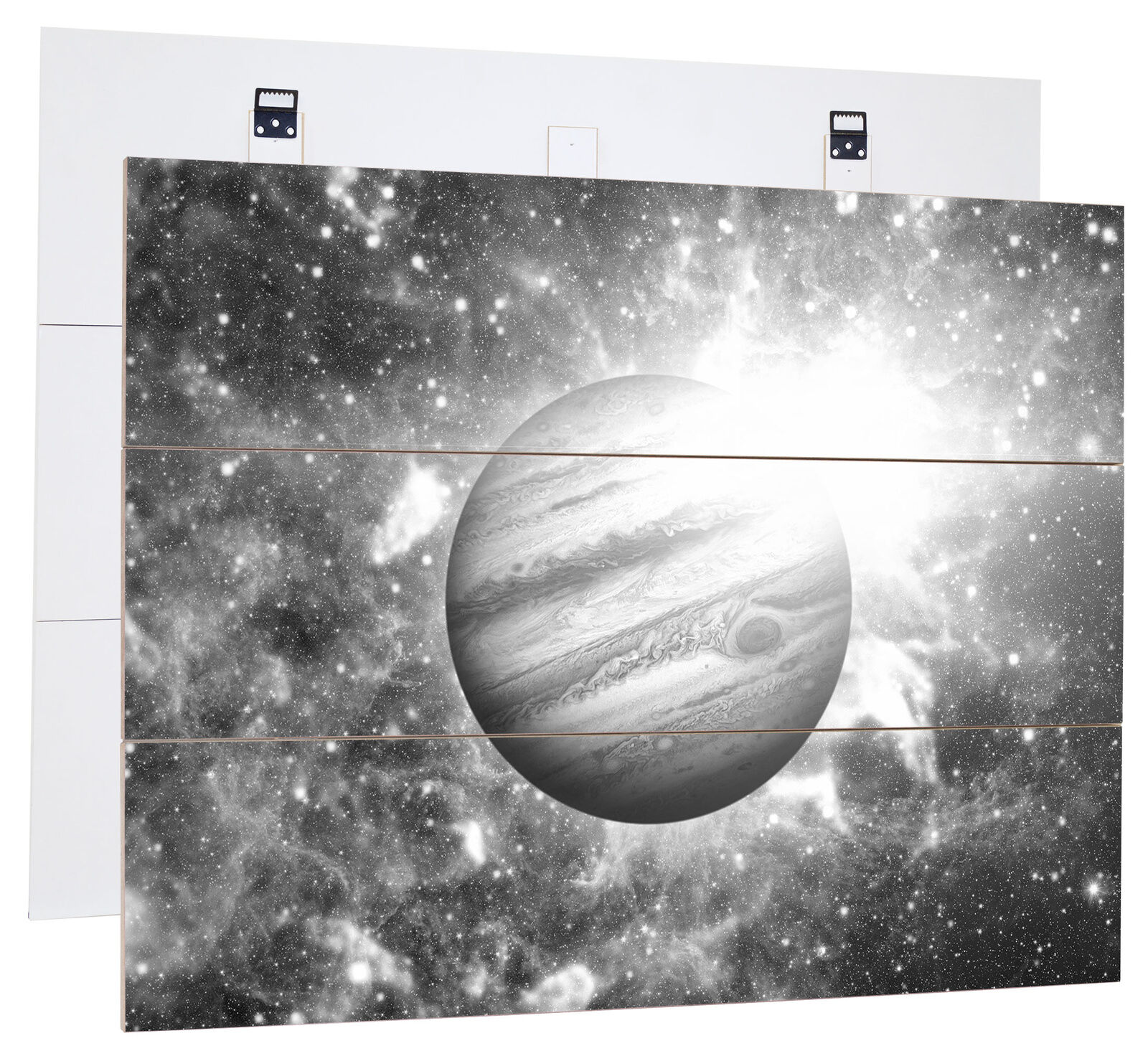 Planète Jupiter dans Univers Art B&w - Authentique Mdf-Holzbild Bretterlook,