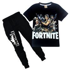 Fashion Kids Boys Fortnite Short Sleeve Shirt Tops+Pants A Suits 6-14 Years 15b6e1cf0