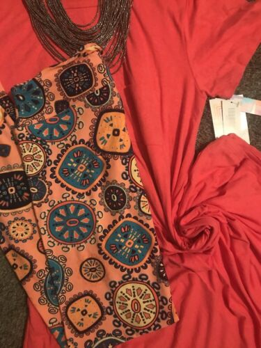 Lularoe Tc2 Medaglioni Dress Coral Carly Leggings Heathered Pink Nwt Outfit L ZxUZz