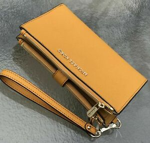New-Michael-Kors-Saffiano-Leather-Double-Zip-Phone-Case-Wallet-Wristlet-Marigold