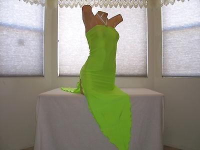 """New Stripper Exotic Dancer Neon Green /""""V/"""" Long Salsa Dress Stripperwear"""