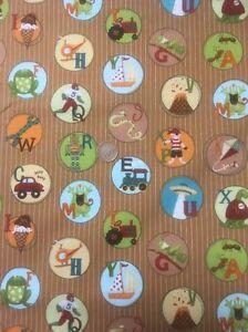 Mischief-Abc-2881-Brown-100-Cotton-Quilting-Fabric-Benartex-Nancy-Halvorsen