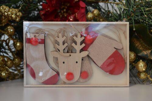 Jeu en bois renne de Noël Tree Décorations Ornements Nez Rouge Rudolph