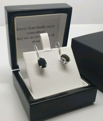 White gold finish oval black onyx droplet earrings gift boxed gift idea
