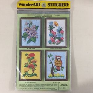 Owl-vintage-crewel-embroidery-kit-5013-Wonder-Art-Stitchery-new-in-package