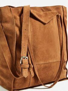 d03b95e3437 Image is loading Zara-Rare-Genuine-Suede-Shopper-Tote-Crossbody-bag-